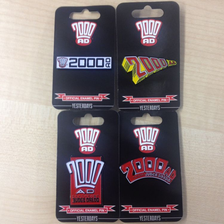 Set of Four 2000 AD Logo Badges
