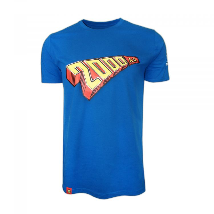 PREMIUM 1970s 2000 AD Logo Royal Blue T-Shirt