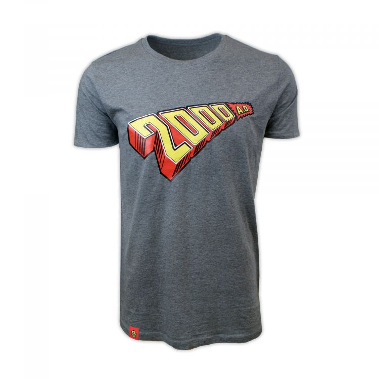 PREMIUM 1970s 2000 AD Logo Mid Heather Grey T-Shirt